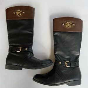 Michael Kors Black Brown Leather Riding Boots